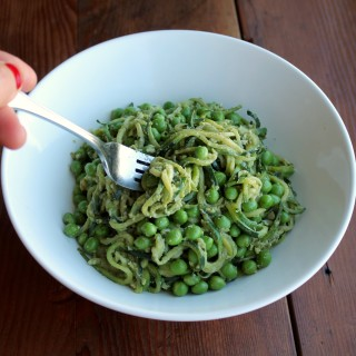 zoodles with peas and pesto