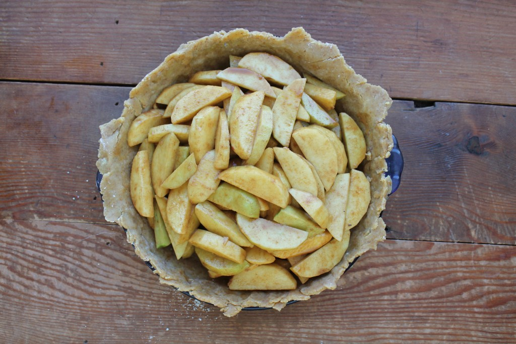 In goes the apple filling