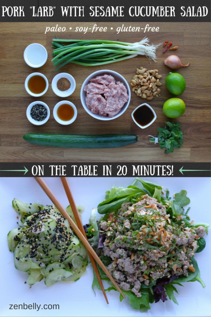 pork larb with sesame cucumber salad
