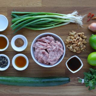 "Pork ""Larb"" with Sesame Cucumber Salad"