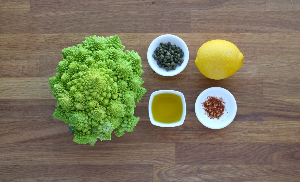 spicy roasted romanesco with lemon and capers