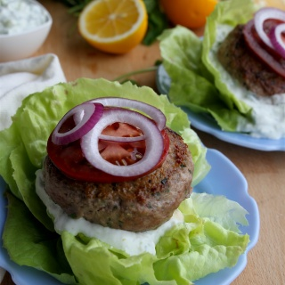 Lemon-Mint Lamb Burgers with Tzatziki