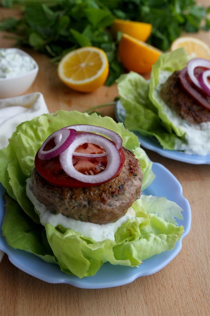 lemon-mint lamb burgers with tzatziki