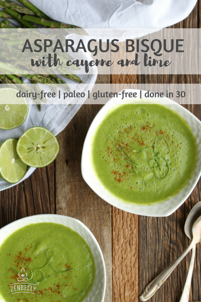 asparagus bisque with cayenne and lime