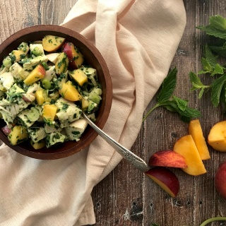 chimichurri chicken salad with peaches