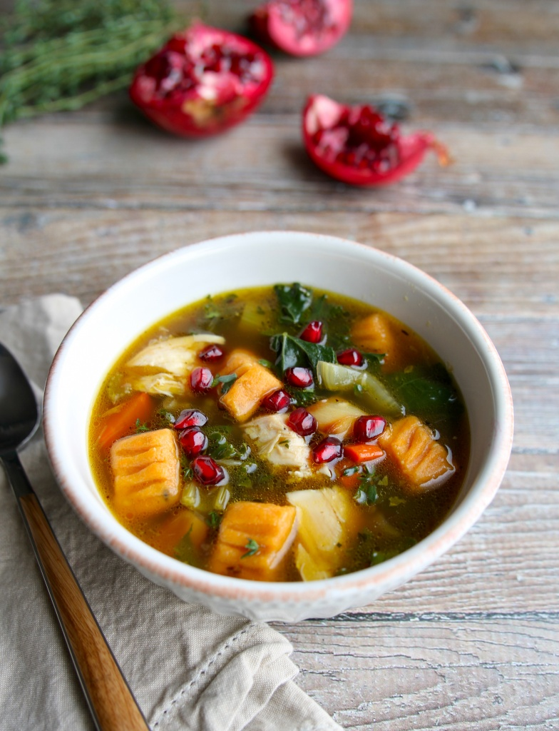harvest chicken soup with sweet potato gnocchi